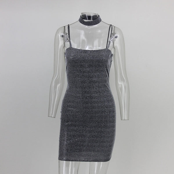 Metallic Knit Choker Dress
