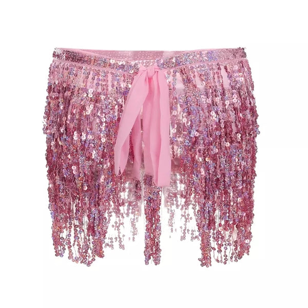 Sequin Tassel Skirt Belt