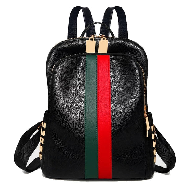 Faux Leather Stripe Rucksack