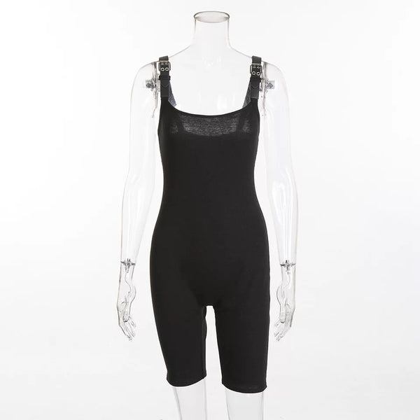 Buckle Strap Ribbed Unitard