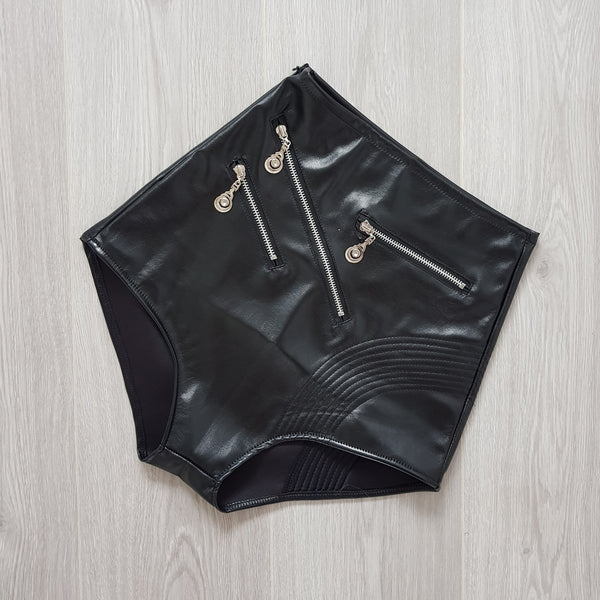 High Waist Pleather Zip Shorts