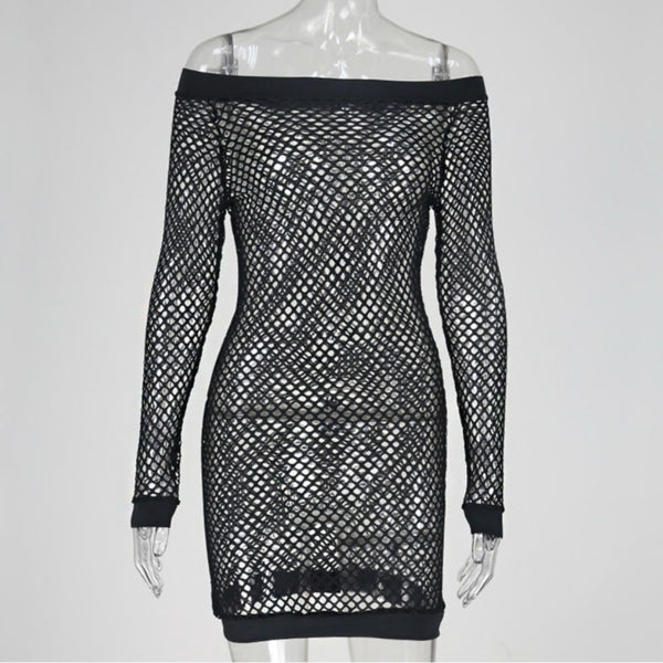 Off The Shoulder Fishnet Dress