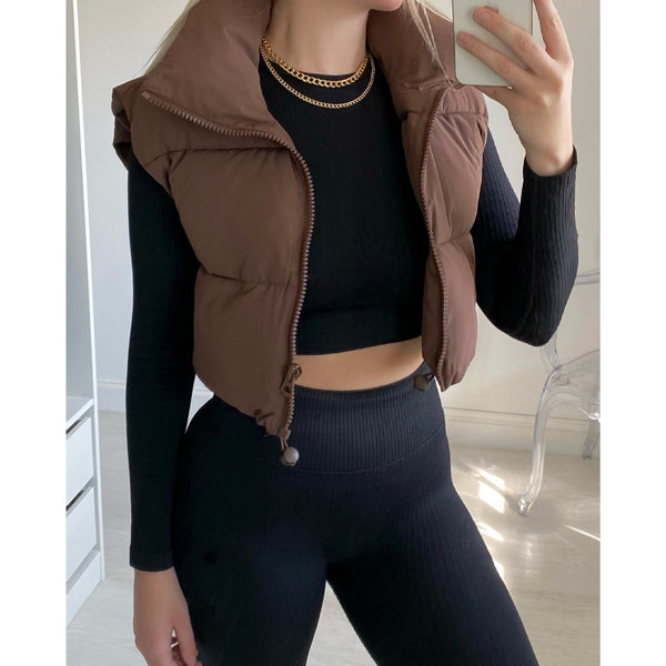 Chocolate Cropped Gilet