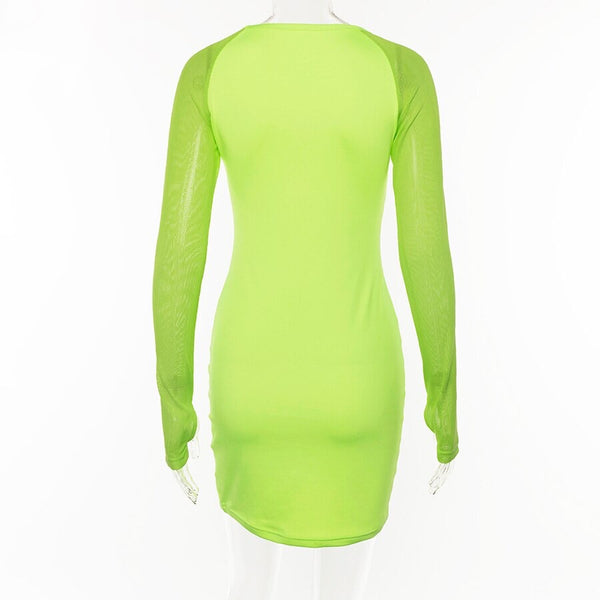 Neon Mesh Sleeve Dress