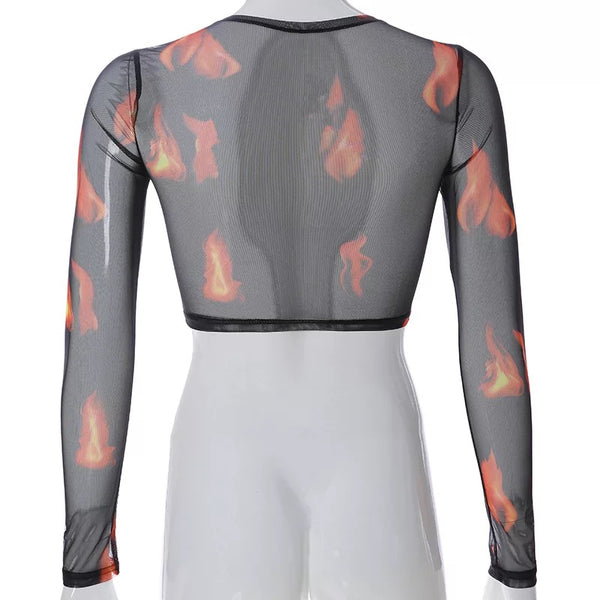 Flame Mesh Crop Top
