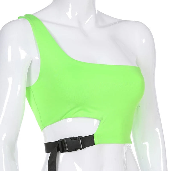 One Shoulder Buckle Crop Top