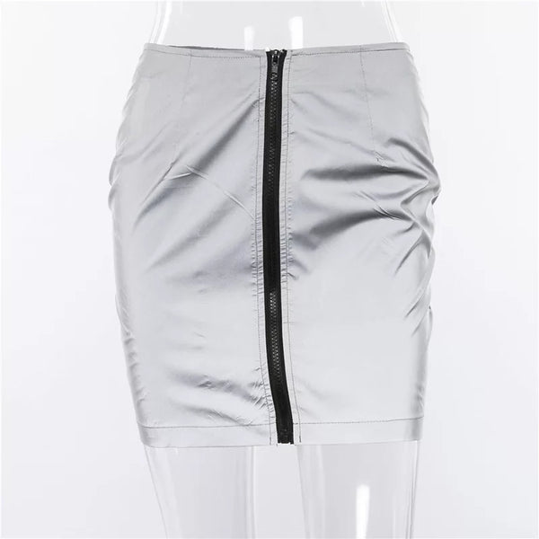 Reflective Mini Zip Skirt