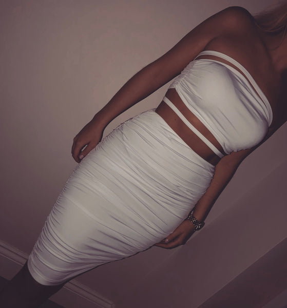 Ruched Strapless Two Piece