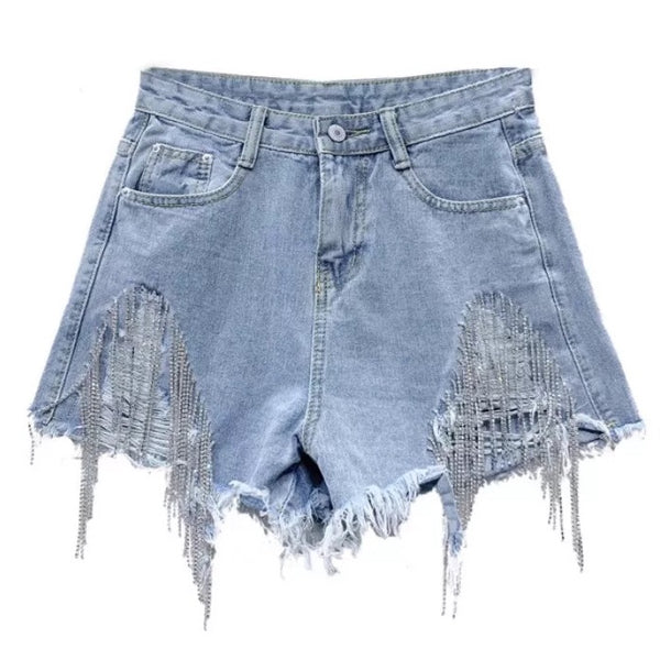 Diamanté Ripped Denim Shorts