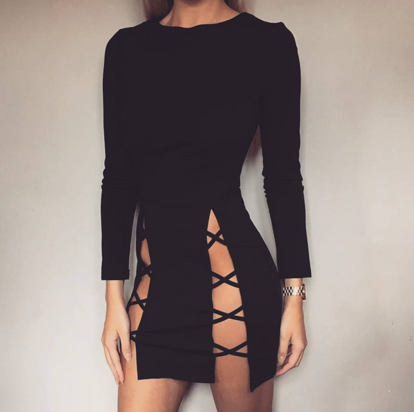 Crossover Split Dress