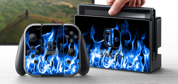 PRE-ORDER Nintendo Switch Skin Blue Flame Custom Vinyl Wrap Decal Sticker