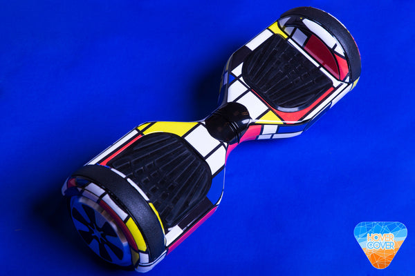 Mondrian hoverboard custom stickers vinyl wraps decal