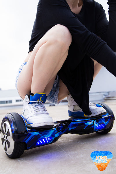 BLUE FLAME hoverboard custom vinyl wrap skin decal sticker