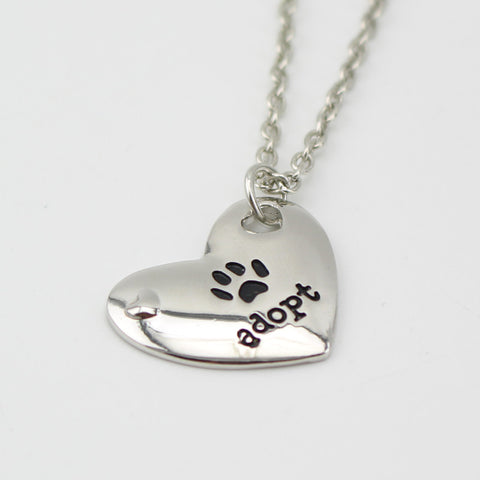Adopt Paw Heart Shaped Necklace