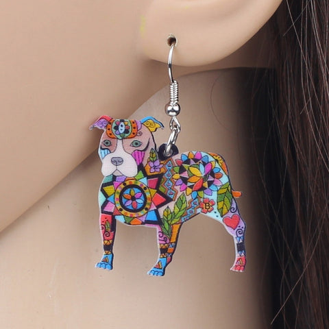 Beautiful Dangle Drop Pit Bull Dog Earrings