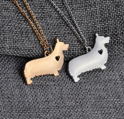 Corgi Pendant Necklace - Gold or Silver