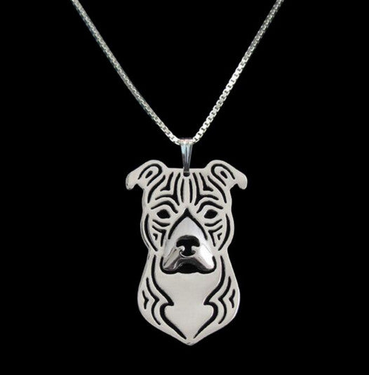 Pit Bull Outline Pendant Necklace