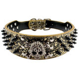 Leather Spiked Skull Dog Collar - 5 Colors