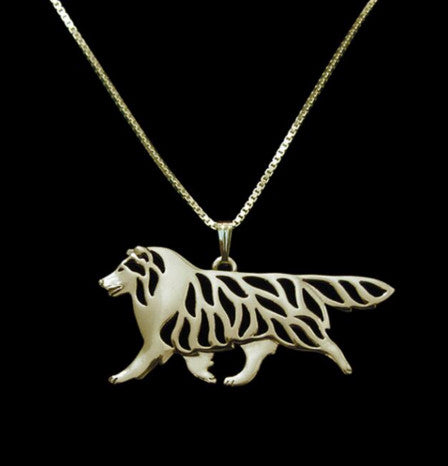 Shetland Sheepdog - Collie - Movement Outline Pendant Necklace