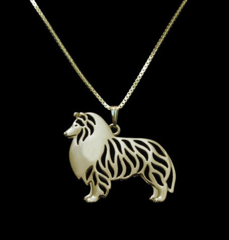 Shetland Sheepdog - Collie - Standing Outline Pendant Necklace