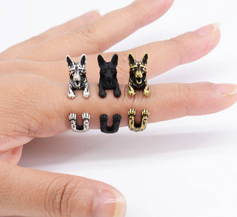 "German Shepherd Ring - Adjustable ""Hug Me"" Design"