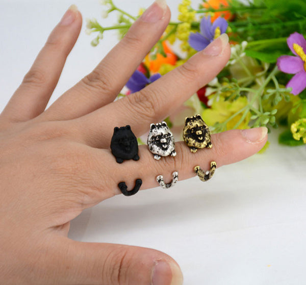 "Pomeranian Ring - Adjustable ""Hug Me"" Design"