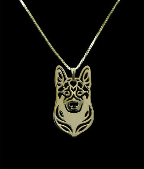 German Shepherd Outline Necklace
