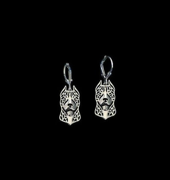 Pit Bull Face Outline Drop Earrings