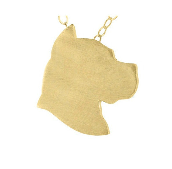Pit Bull Head Profile Necklace