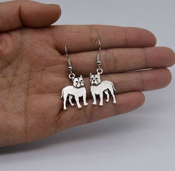 Vintage Pit Bull Drop Earrings
