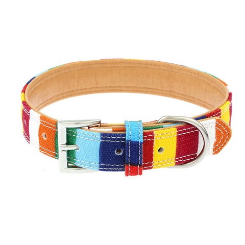 Collar - Bold Color Rainbow Dog Collar