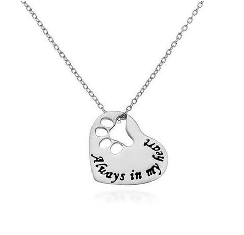 "Jewelry - ""Always In My Heart"" Paw Cutout Necklace"