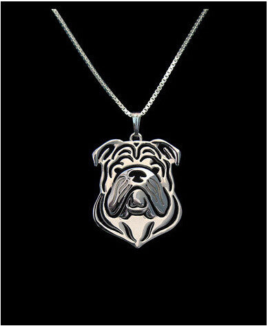 Jewelry - Bulldog Outline Pendant Necklace
