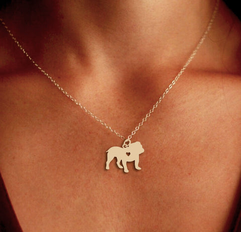 Jewelry - Bulldog Pendant Necklace - Gold Or Silver