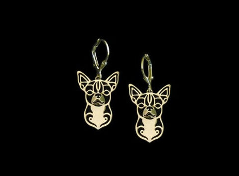 Jewelry - Chihuahua Outline Drop Earrings