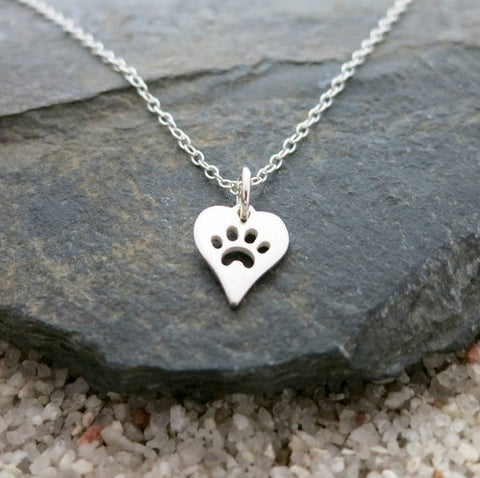 Jewelry - Dog Paw Print Heart Pendant Necklace