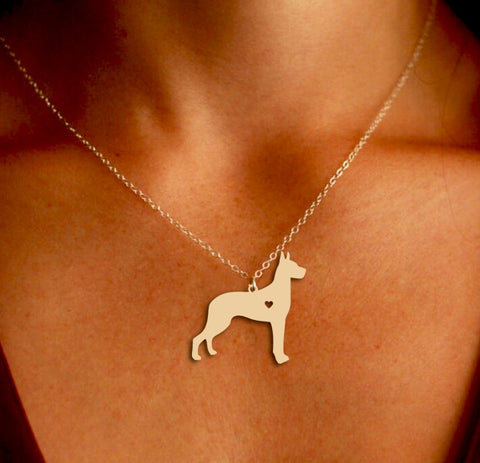 Jewelry - Great Dane Pendant Necklace - Gold Or Silver