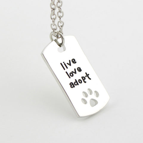 "Jewelry - ""Live Love Adopt"" Pendant Necklace"