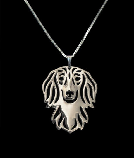Jewelry - Long-Haired Dachshund - Chic Face Outline Necklace