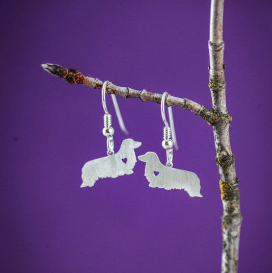 Jewelry - Long-haired Dachshund Drop Earrings