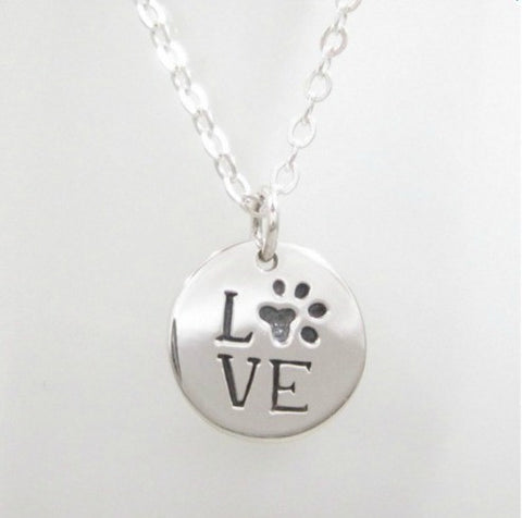 "Jewelry - ""LOVE"" Paw Print Necklace"