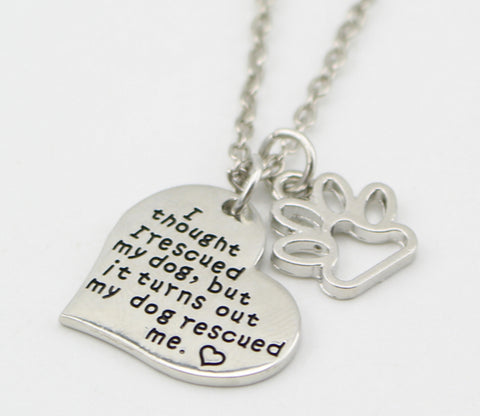 "Jewelry - ""My Dog Rescued Me"" Pendant Necklace"