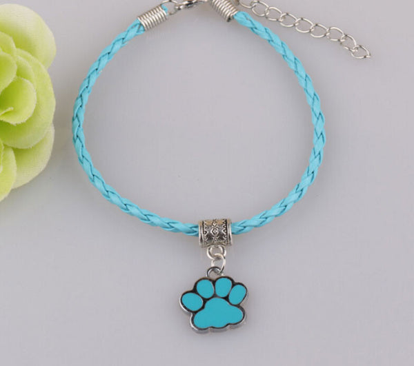 Jewelry - Paw Print Pendant Leather Bracelet - 10 Colors
