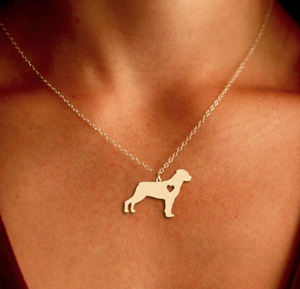 Jewelry - Rottweiler Pendant Necklace - Gold Or Silver
