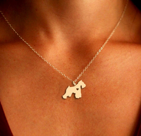 Jewelry - Schnauzer Pendant Necklace - Gold Or Silver