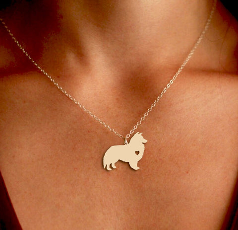 Jewelry - Shetland Sheepdog Pendant Necklace - Gold Or Silver