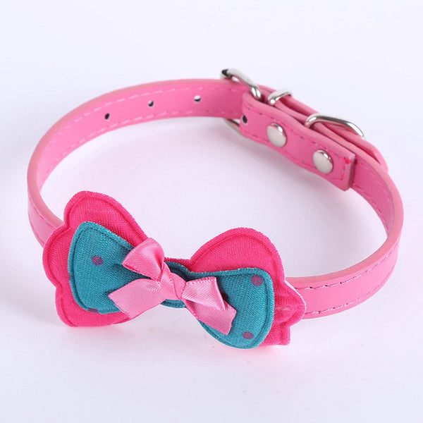 Cute Polka Dot Bow Collar Leather