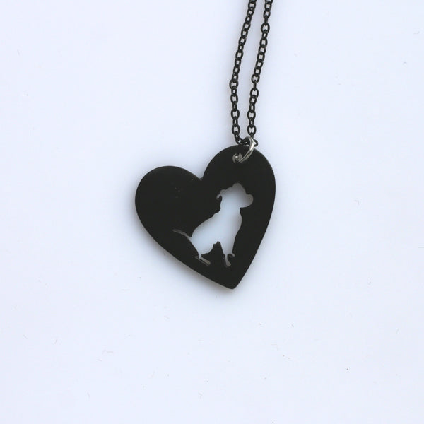 Black Plated Pit bull Dog Necklace