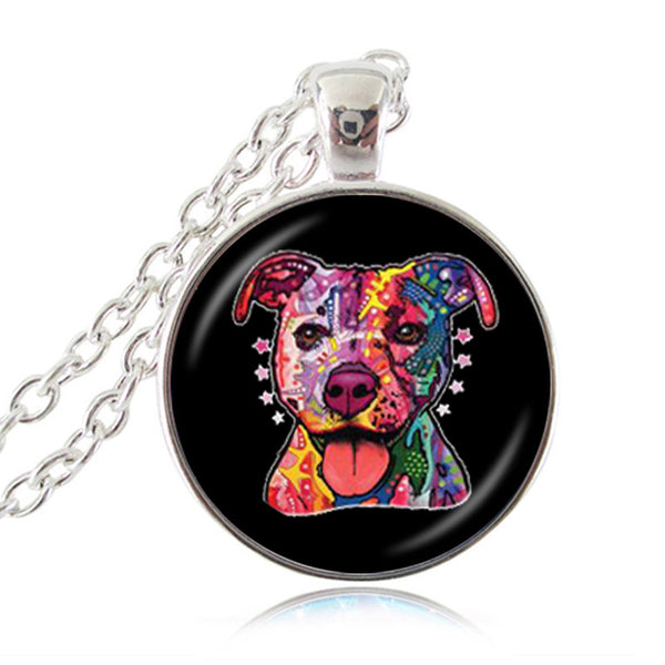 Pit Bull Colorful Pendant Necklace