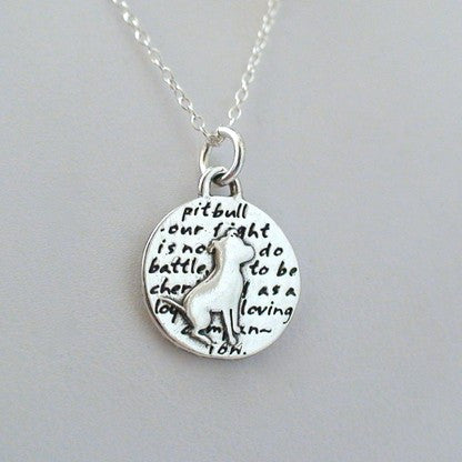 Inspirational Pit Bull Dog Charm Necklace